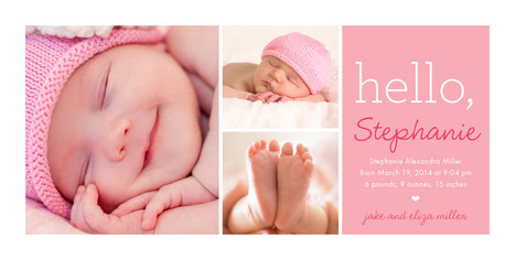 Pink Three Photo Hello 8x4 Flat Card