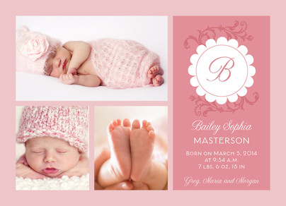 Scalloped Monogram Pink Photo 7x5 Flat Card
