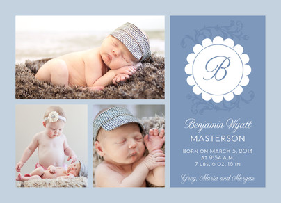 Scalloped Monogram Blue Photo 7x5 Flat Card