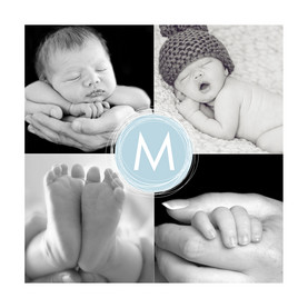 Four Photo Blue Monogram 4.75x4.75 Folded Card