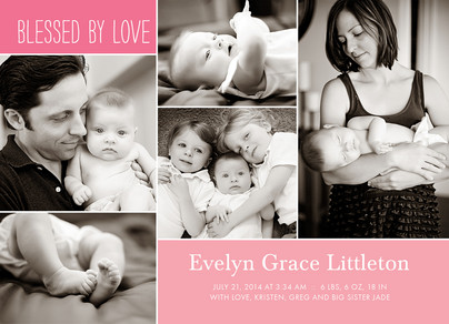 Pink Blessed by Love 7x5 Flat Card
