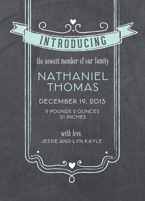 Chalkboard Blue Introducing 5x7 Flat Card