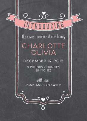 Chalkboard Pink Introducing 5x7 Flat Card