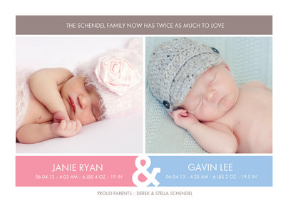 Pink and Blue Border Twins 7x5 Flat Card