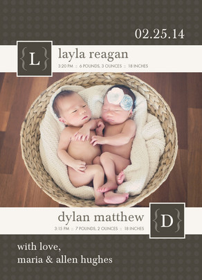 Brown Monogram Twins 5x7 Flat Card