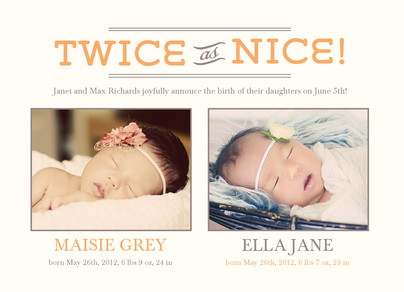 Twice as Nice Twins 7x5 Flat Card