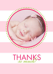 Pink Stripes Thanks 3.75x5.25 Folded Card