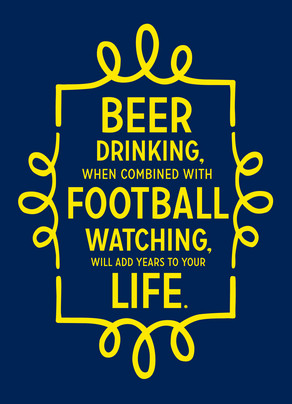 Beer and Football 5x7 Folded Card