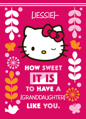Hello Kitty For Granddaughter Happy Birthday Card