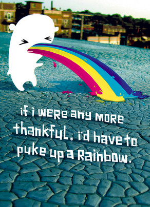 Puke Up a Rainbow 5x7 Folded Card