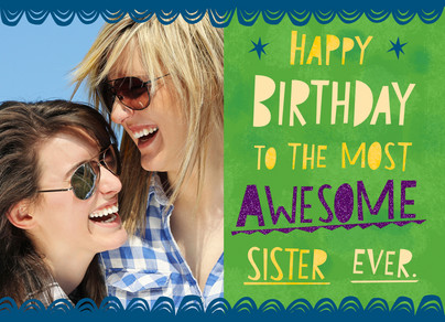 Awesome Sister 7x5 Folded Card
