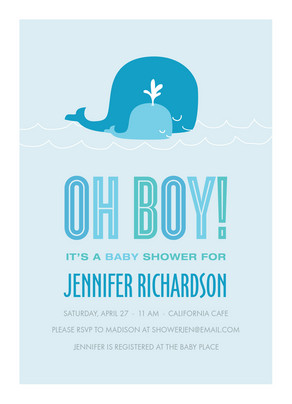 Whale Oh Boy 5x7 Flat Card