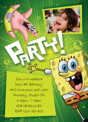 Party Spongebob 5x7 Flat Card