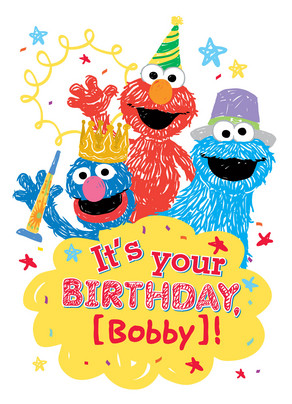 Sesame Street Birthday 5x7 Folded Card