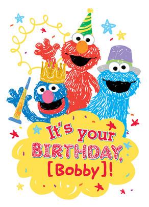 Sesame Street Birthday 5x7 Folded Card