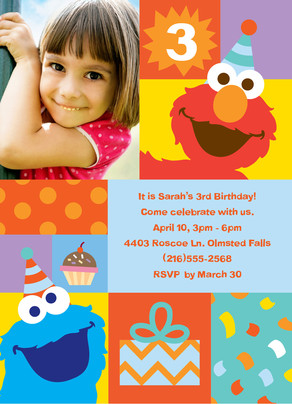 Elmo Square Birthday 5x7 Flat Card