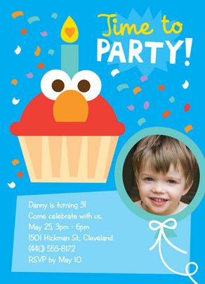 Elmo Time to Party 5x7 Flat Card