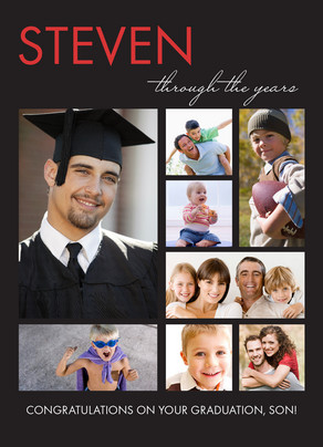 Through the Years Graduation Black 5x7 Folded Card