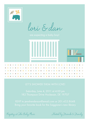 Blue Baby Crib 5x7 Flat Card