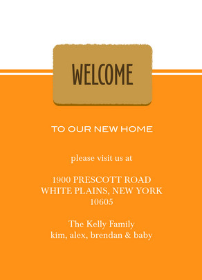 Orange Welcome Mat 5x7 Flat Card