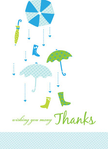 Blue Umbrella Thanks 3.75x5.25 Folded Card