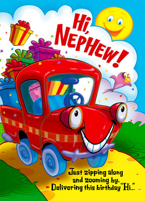 Red truck nephew happy birthday card cardstore red truck nephew 5x7 folded card m4hsunfo