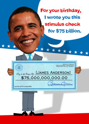 Obama Stimulus Check 5x7 Folded Card