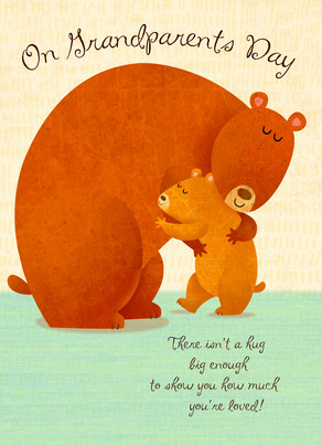 Bear Hug Grandparents 5x7 Folded Card