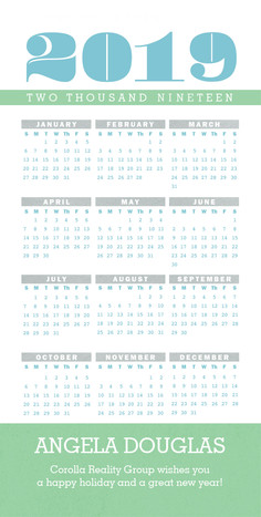 2016 Calendar 4x8 Flat Card