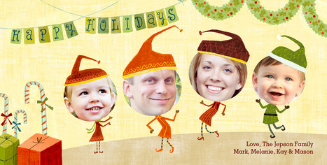 Christmas Elves 8x4 Flat Card