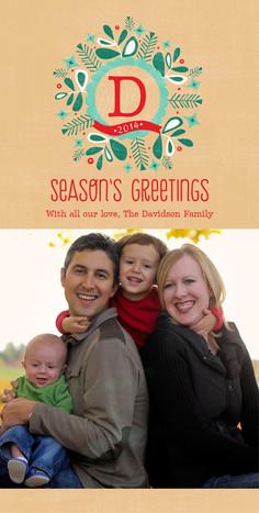 Monogram Seasons Greetings 4x8 Flat Card
