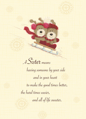 Sledding Sister Christmas 5x7 Folded Card