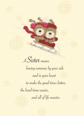 Sledding Sister Christmas 5x7 Folded Card