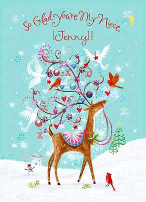 Glad Reindeer Niece 5x7 Folded Card