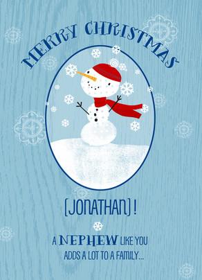 Merry Nephew Christmas 5x7 Folded Card