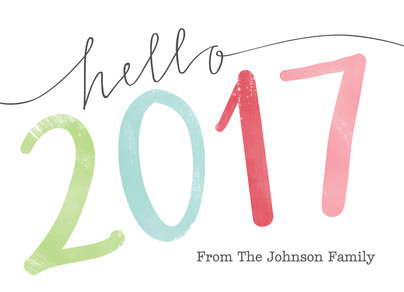 Hello Colorful 2017 7x5 Folded Card