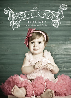 Chalk Christmas Banner 5x7 Flat Card