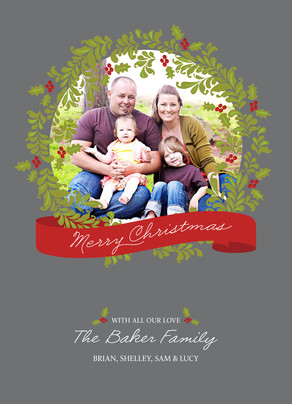 Loving Christmas Wreath 5x7 Flat Card