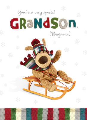 Special Sleighing Grandson 5x7 Folded Card