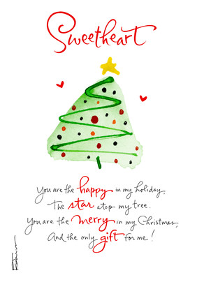 Sweetheart Christmas Tree 5x7 Folded Card