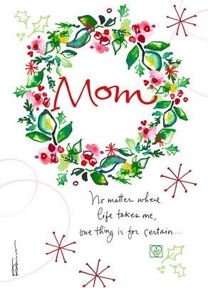 Mom Christmas Wreath 5x7 Folded Card
