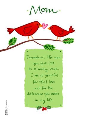 Cardinal Love Christmas 5x7 Folded Card