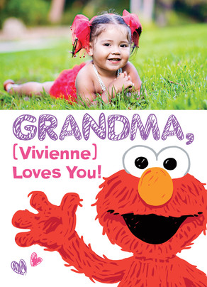 Grandma Elmo Wave 5x7 Folded Card