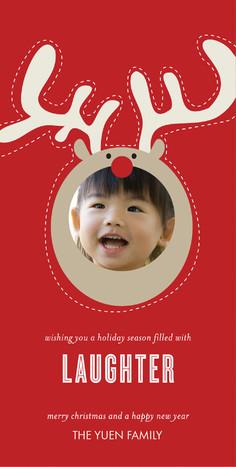 Reindeer Frame Laughter 4x8 Flat Card
