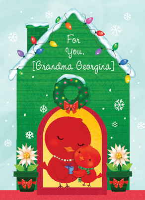Red Christmas Birds 5x7 Folded Card