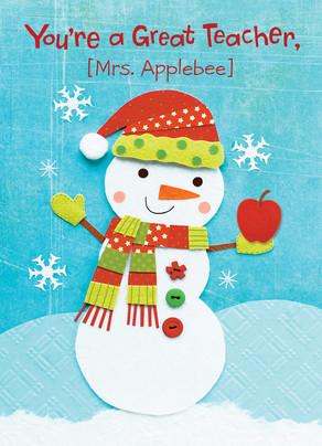 Teacher Snowman 5x7 Folded Card