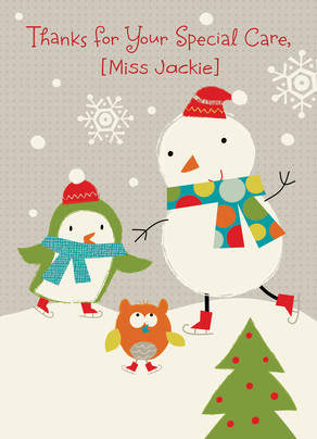 Caregiver Snowman 5x7 Folded Card