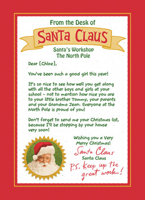 From the desk of Santa 5x7 Flat Card