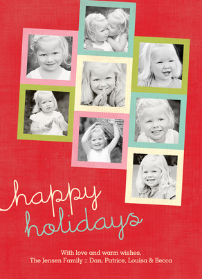 Happy Holidays Bright Frames 5x7 Flat Card