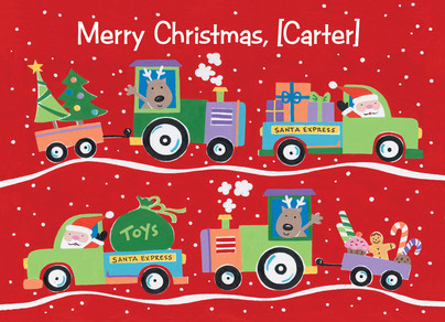 Christmas Trucks 7x5 Folded Card